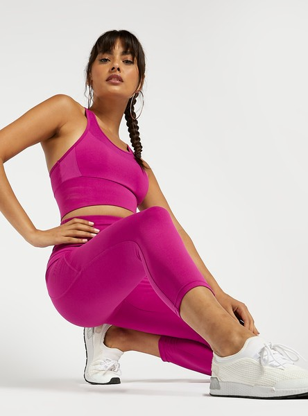 Slim Solid 3/4 Leggings with Side Pocket Detail and Elasticised Waist