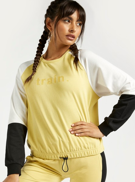 Colourblocked Printed Crew Neck Sweatshirt with Raglan Sleeves
