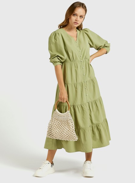Solid Tiered Midi Dress with 3/4 Puff Sleeves and V-neck