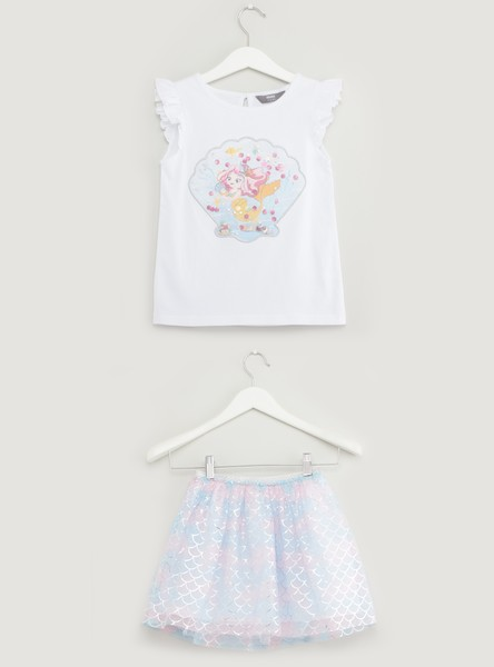 Mermaid Print Round Neck Top with Skirt