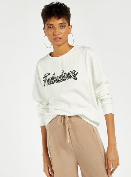 Embellished Sweat Top with Round Neck and Long Sleeves