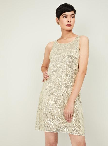 CODE Women Sequinned Sleeveless Shift Dress