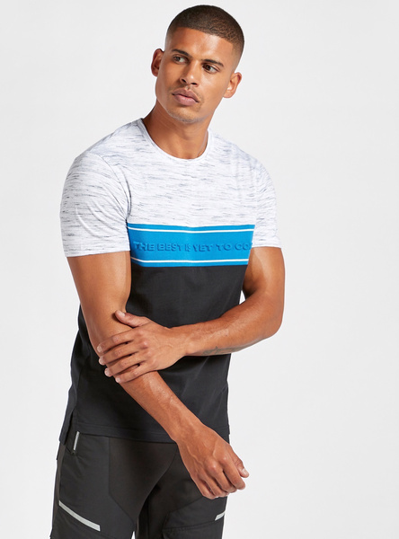 Embossed Crew Neck T-shirt with Short Sleeves
