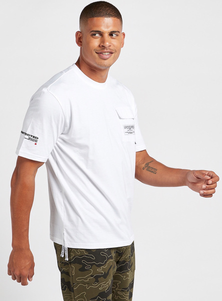Slim Fit Text Print Oversized T-shirt with Flap Pocket