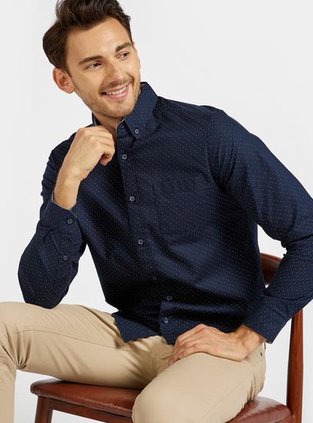 Polka Dot Print Shirt with Spread Collar and Long Sleeves