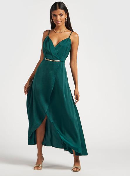 Solid Maxi Wrap Dress with Spaghetti Straps