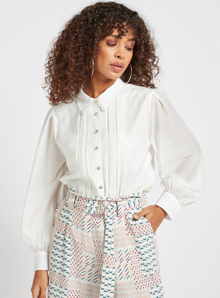 Textured Shirt with Spread Collar and Bishop Sleeves