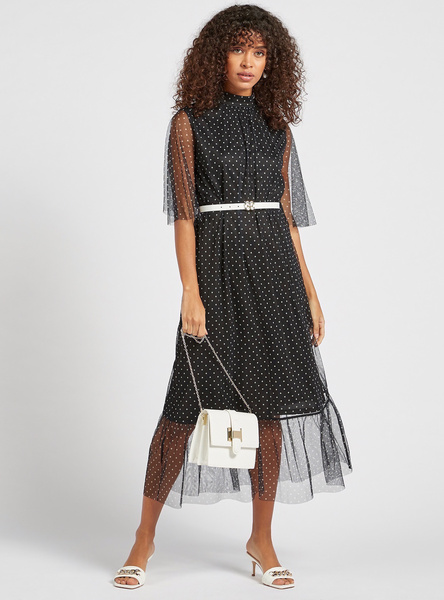 Polka Dots Print High Neck Midi Dress with Short Sleeves and Belt