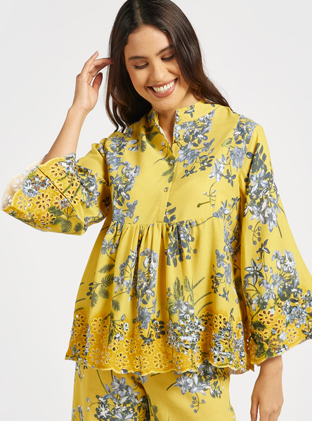 Floral Print Mandarin Neck Top with 3/4 Sleeves and Button Closure
