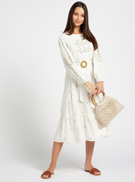 Embroidered Tiered Dress with Long Sleeves and Keyhole Closure