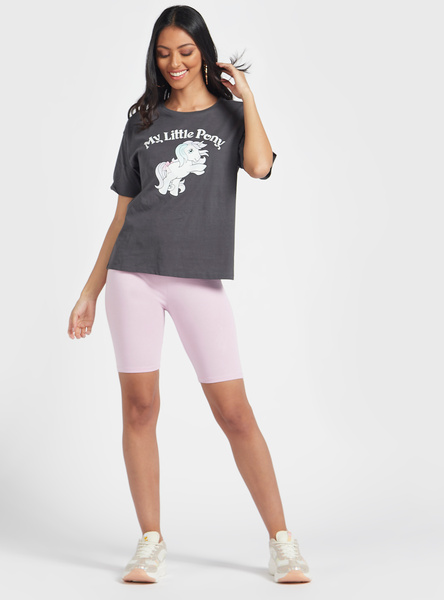 Solid Mid-Rise Cycling Shorts with Elasticised Waistband