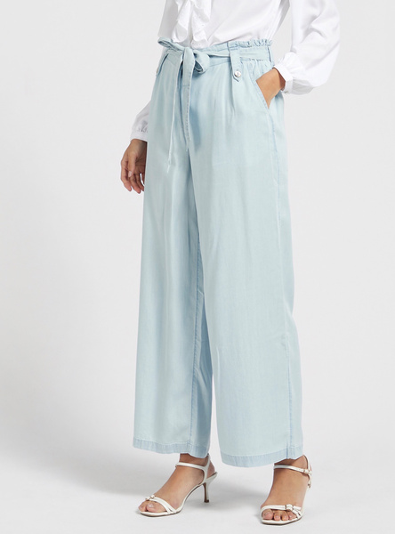Solid High-Rise Culottes with Paperbag Waist and Tie-Ups