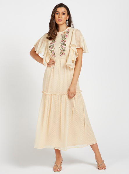 Embroidered A-line Tiered Midi Dress with Short Sleeves