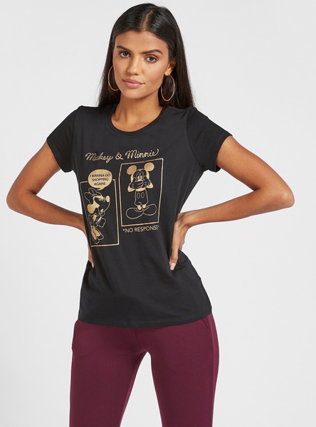 Mickey and Minnie Mouse Foil Print T-shirt with Cap Sleeves