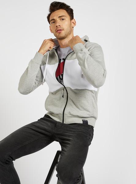 Panel Detail Hoodie Jacket with Long Sleeves and Zip Closure