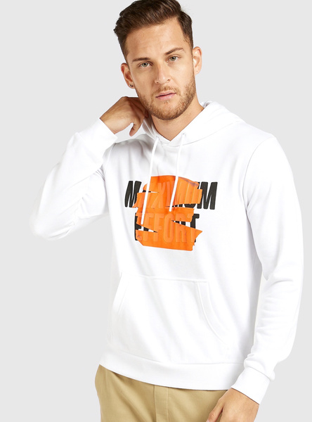 Slim Fit Graphic Print Hoodie with Long Sleeves and Kangaroo Pockets