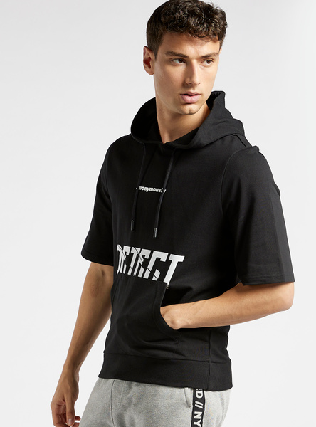 Graphic Print Hooded Sweatshirt with Short Sleeves