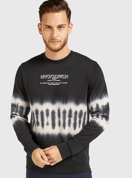 Slim Fit Printed Tie-Dye Oversized Sweatshirt with Long Sleeves