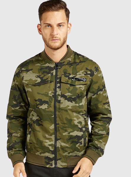 All-Over Camouflage Print Bomber Jacket with Long Sleeves