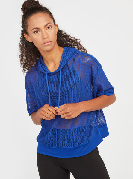 Slim Fit Solid Mesh Top with Short Sleeves and Hood