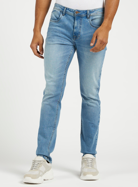 Slim Fit Mid-Rise Ripped Denim Jeans with 5-Pockets