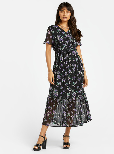 All-Over Floral Print Midi A-line Wrap Tiered Dress with V-neck