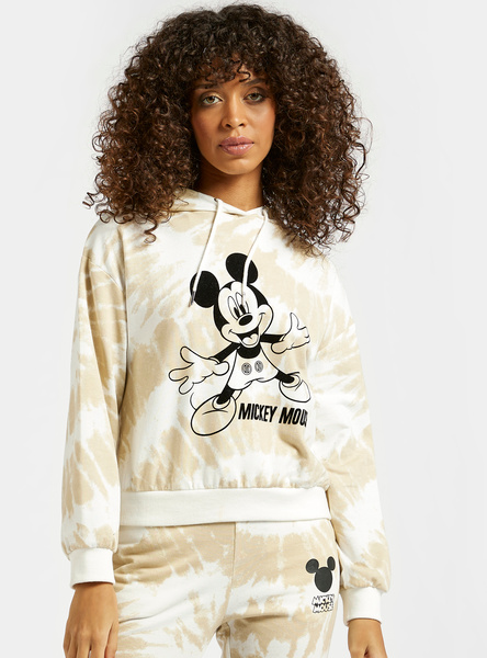 Mickey Mouse Graphic Print Tie Dye Sweatshirt with Long Sleeves