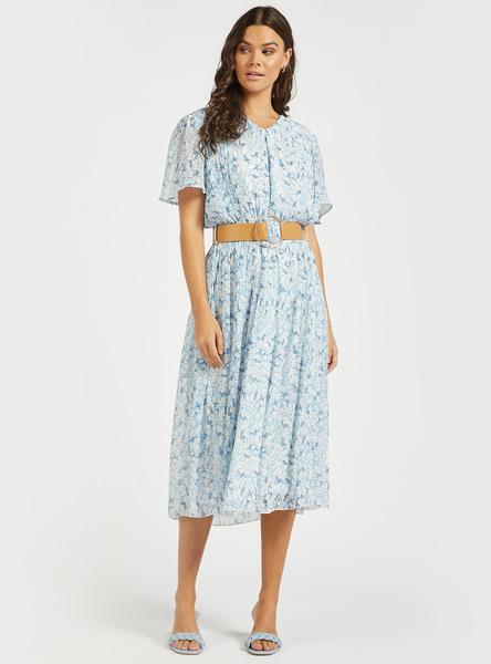 فستان ميدي بطبعات أزهار وكشكشة وحزام