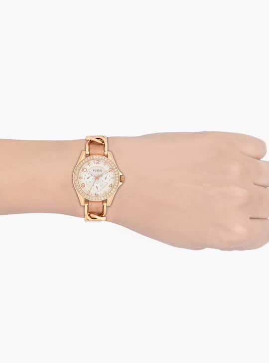 FOSSIL Riley Women Crystal-Encrusted Multifunctional Watch - ES3466