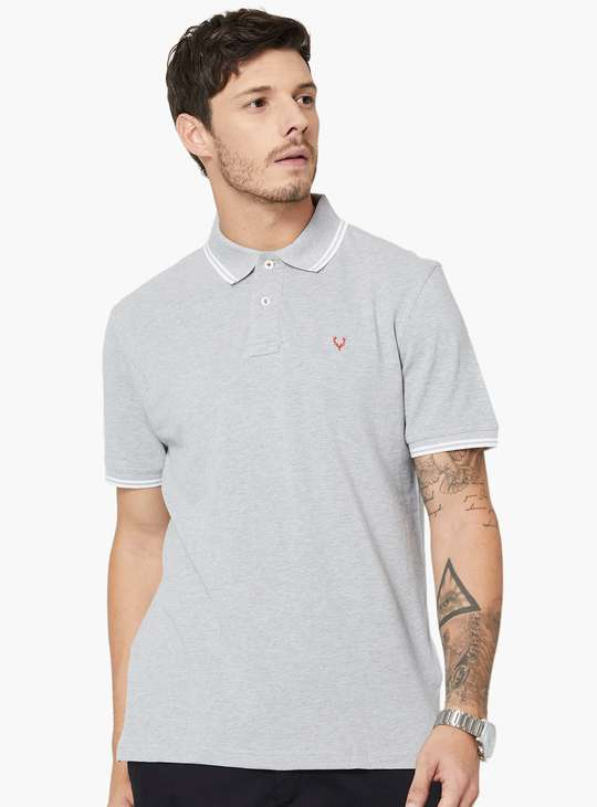 ALLEN SOLLY Regular Fit Solid Melange Polo Neck T-shirt