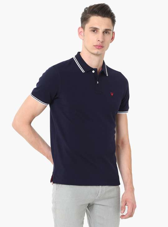 ALLEN SOLLY Regular Fit Contrast Tipping Pique Knit Polo T-shirt