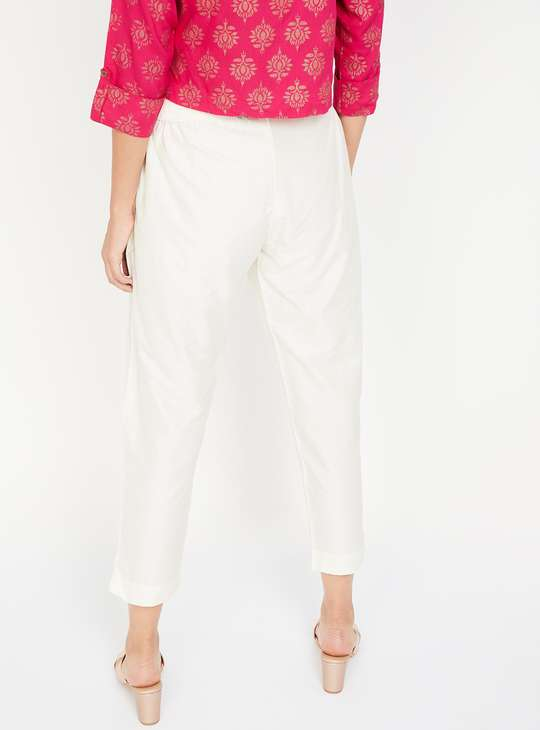 MELANGE Solid Ethnic Cropped Trousers