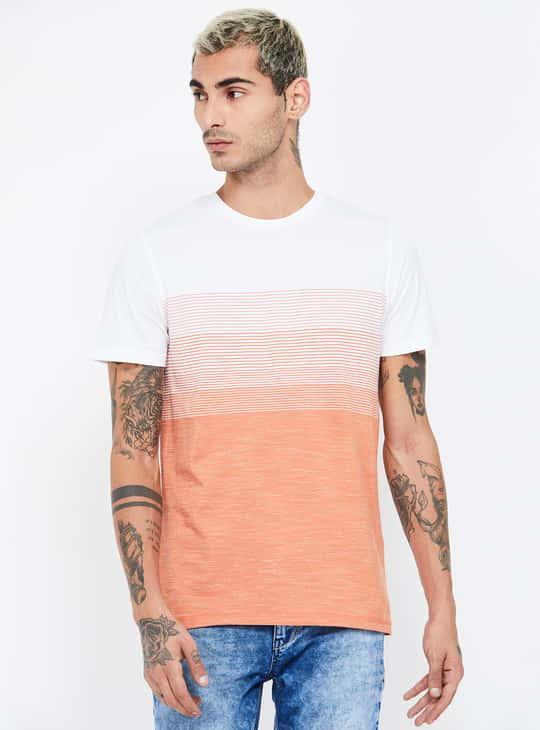 CELIO Colourblocked Slim Fit Crew Neck T-shirt