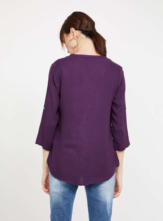 BOSSINI Roll-Up Sleeves Solid Top