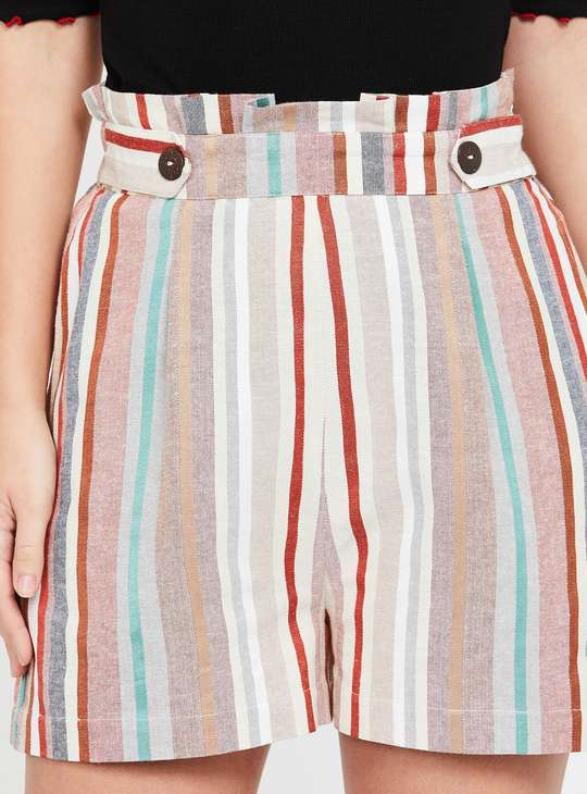 GINGER Striped Regular Fit Shorts with Insert Pockets