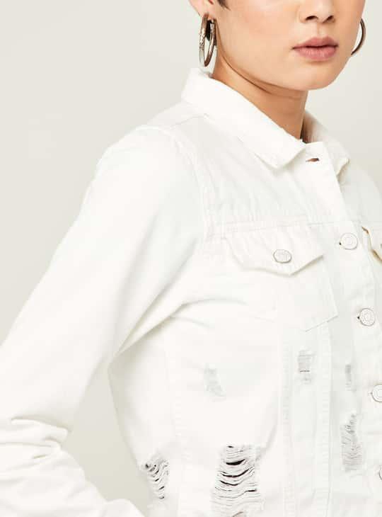 GINGER Women Mid-Washed Distressed Denim Jacket