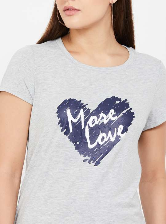 FAME FOREVER Typographic Print T-shirt with Cap Sleeves