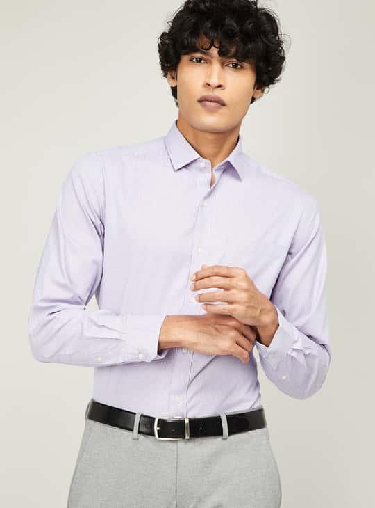 CODE Men Textured Full Sleeves Regular Fit Formal Shirt