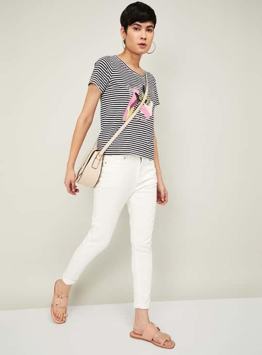 BOSSINI Women Butterfly Print Striped T-shirt