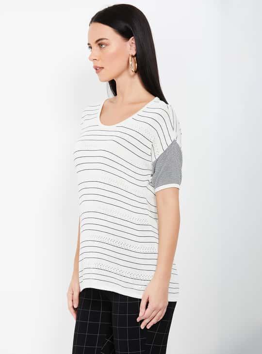 ALLEN SOLLY Striped Short Sleeves T-shirt
