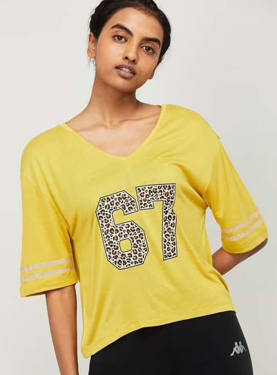 KAPPA Women Printed V-neck T-shirt