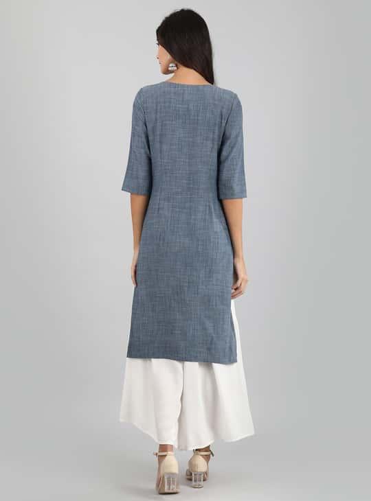 AURELIA Textured Three-quarter Sleeves Kurta
