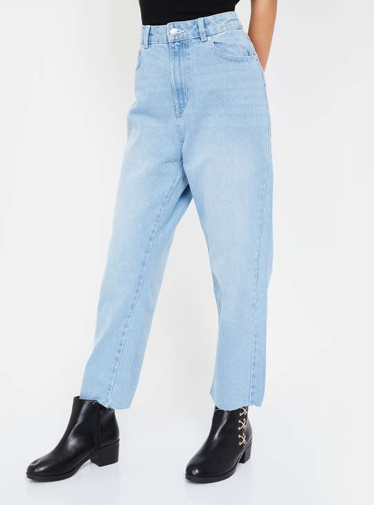 FAME FOREVER Women Stonewashed Boyfriend Fit Jeans
