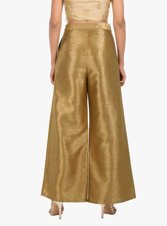 INDYA Solid Pleated Palazzos
