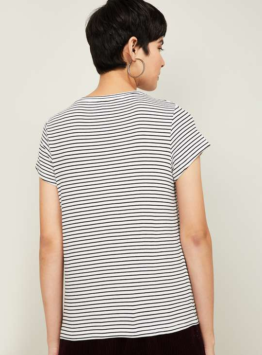 FAME FOREVER Women Striped Round Neck T-shirt