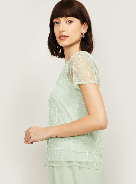 CODE Women Textured Sheer Lace Top