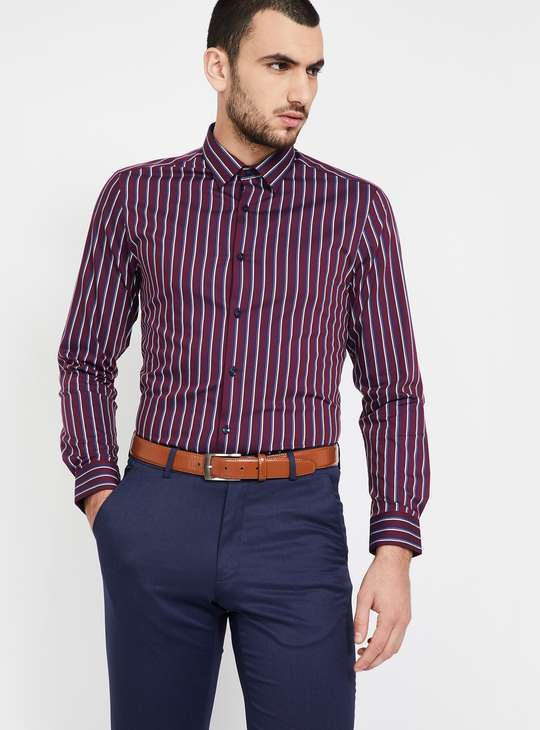 LOUIS PHILIPPE Striped Full Sleeves Super Slim Fit Formal Shirt