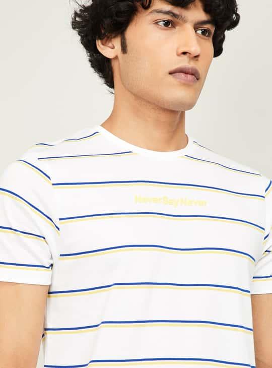 BOSSINI Men Striped Crew-Neck T-shirt
