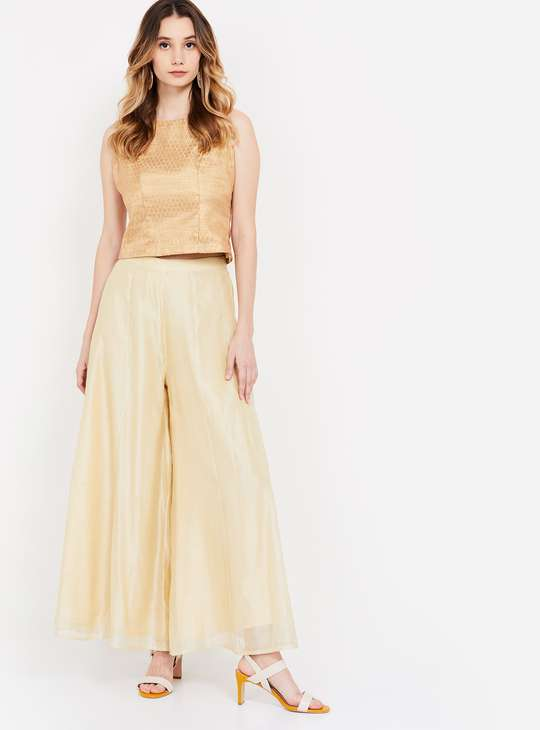 GLOBAL DESI Solid Tulle Layered Palazzo