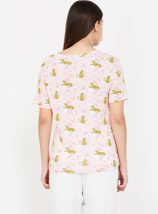 FAME FOREVER Printed Round-Neck Top